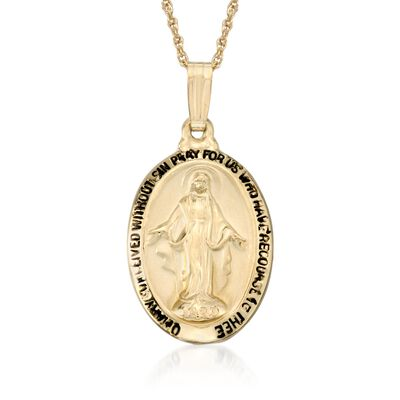 14kt Yellow Gold Mary Miraculous Medal Necklace, , default