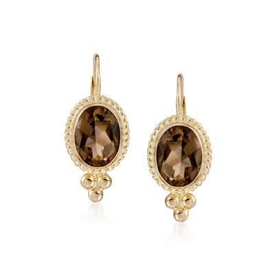 2.50 ct. t.w. Smoky Quartz Rope Edge Earrings in 14kt Yellow Gold, , default