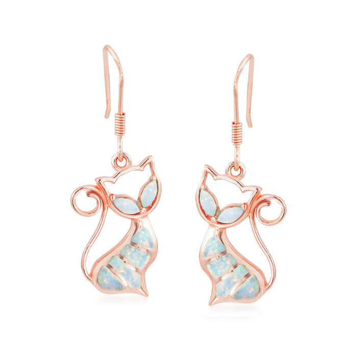 Synthetic Opal Cat Wire Drop Earrings in 18kt Rose Gold Over Sterling Silver, , default