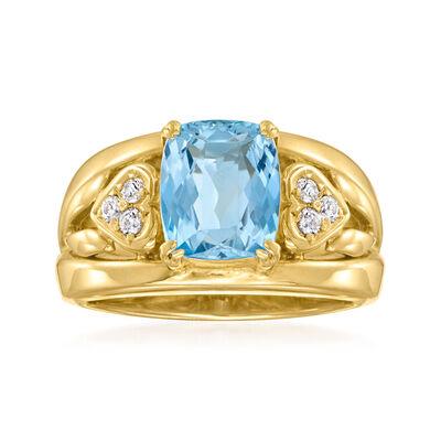 C. 1980 Vintage 1.60 Carat Aquamarine and .12 ct. t.w. Diamond Ring in 18kt Yellow Gold