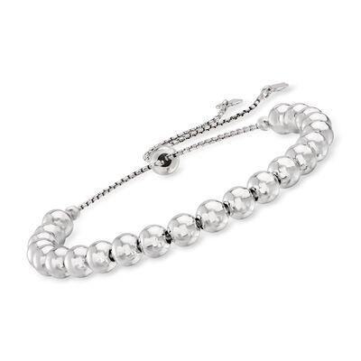6mm Sterling Silver Bead Bolo Bracelet