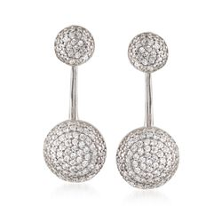 1.20 ct. t.w. Pave CZ Jewelry Set: Earrings and Front-Back Jackets in Sterling Silver, , default