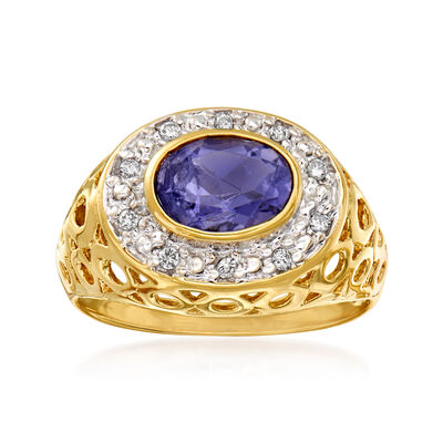 C. 1980 Vintage 1.10 Carat Purple Iolite and .13 ct. t.w. Diamond Ring in 10kt Yellow Gold