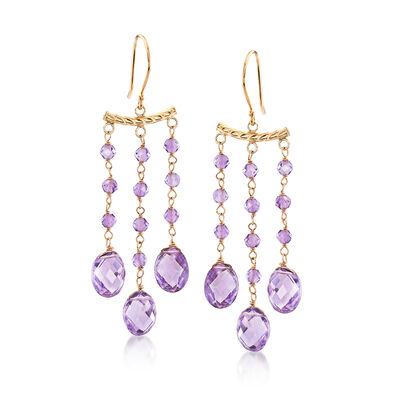 9.95 ct. t.w. Amethyst Chandelier-Style Drop Earrings in 14kt Yellow Gold, , default