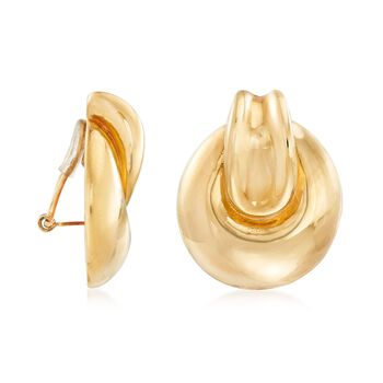 Italian 14kt Yellow Gold Round Clip Motif Clip-On Earrings , , default