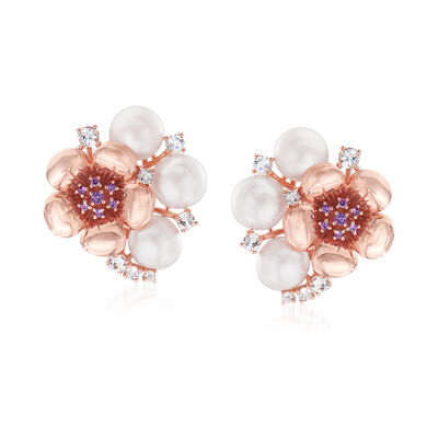9-9.5mm Cultured Pearl, 1.60 ct. t.w. Sky Blue Topaz and .10 ct. t.w. Amethyst Flower Earrings in 18kt Rose Gold Over Sterling, , default