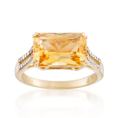 2.60 ct. t.w. Citrine and .11 ct. t.w. Diamond Ring in 14kt Yellow Gold, , default