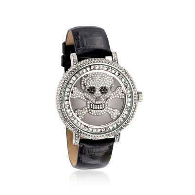 Saint James Women's 46mm White and Black Crystal Skull Watch with Black Leather, , default
