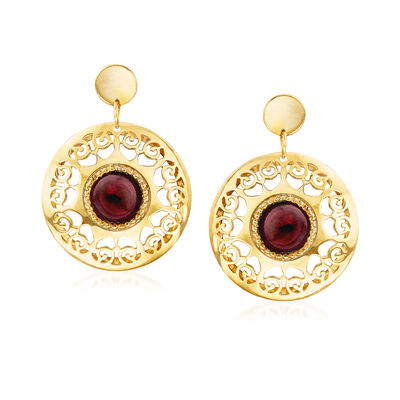 Italian 1.70 ct. t.w. Garnet Filigree Drop Earrings in 14kt Yellow Gold, , default