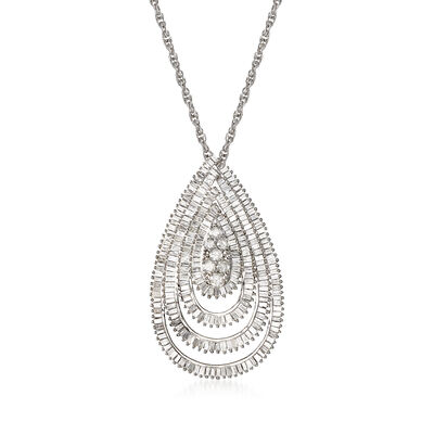 1.95 ct. t.w. Diamond Teardrop Pendant Necklace in Sterling Silver, , default
