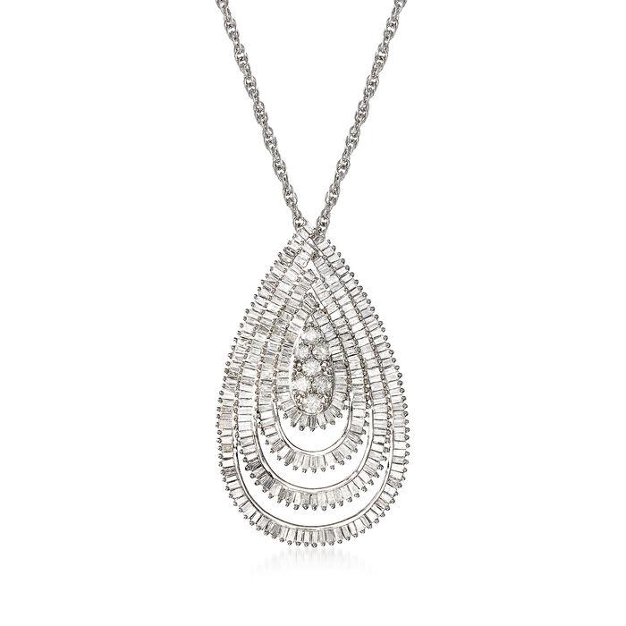 """1.95 ct. t.w. Diamond Teardrop Pendant Necklace in Sterling Silver. 18"""", , default"""