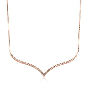 """.16 ct. t.w. Diamond Curved Station Necklace in 14kt Rose Gold. 18"""", , default"""