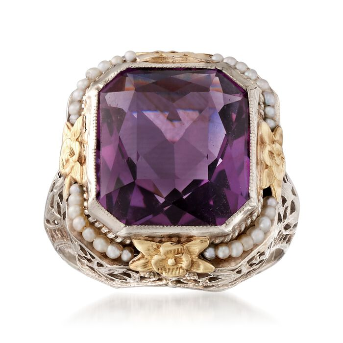 C. 1950 Vintage 7.50 Carat Amethyst Ring with Cultured Seed Pearls in 14kt Two-Tone Gold. Size 6, , default