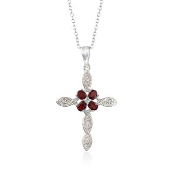 """1.60 ct. t.w. Garnet and .16 ct. t.w. White Topaz Cross Pendant Necklace in Sterling Silver. 18"""", , default"""