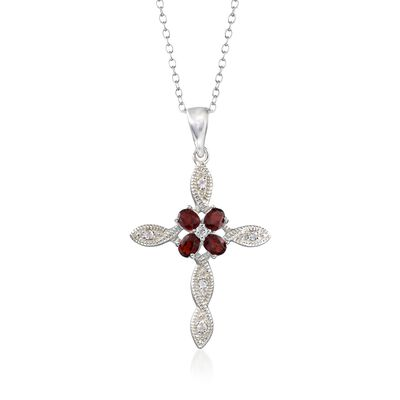 1.60 ct. t.w. Garnet and .16 ct. t.w. White Topaz Cross Pendant Necklace in Sterling Silver, , default