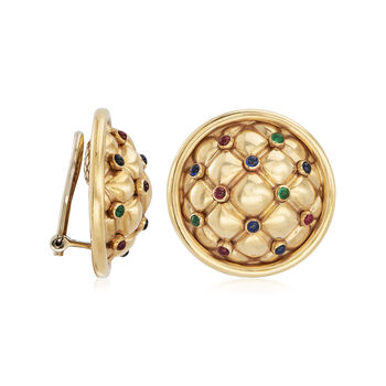 C. 1980 Vintage Chaumet .95 ct. t.w. Multi-Gemstone Clip-On Earrings in 18kt Yellow Gold