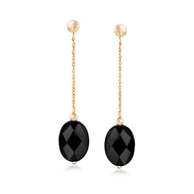 Oval Black Onyx Bead and 14kt Yellow Gold Chain Drop Earrings, , default