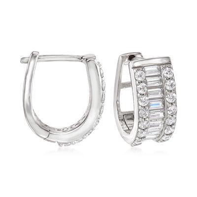 1.32 ct. t.w. Baguette and Round CZ Huggie Hoop Earrings in Sterling Silver, , default