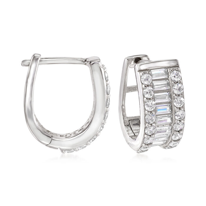 1.32 ct. t.w. Baguette and Round CZ Huggie Hoop Earrings in Sterling Silver