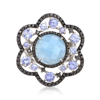 5.50 Carat Milky Aquamarine Floral Ring With Black Spinels and Tanzanites in Sterling Silver, , default