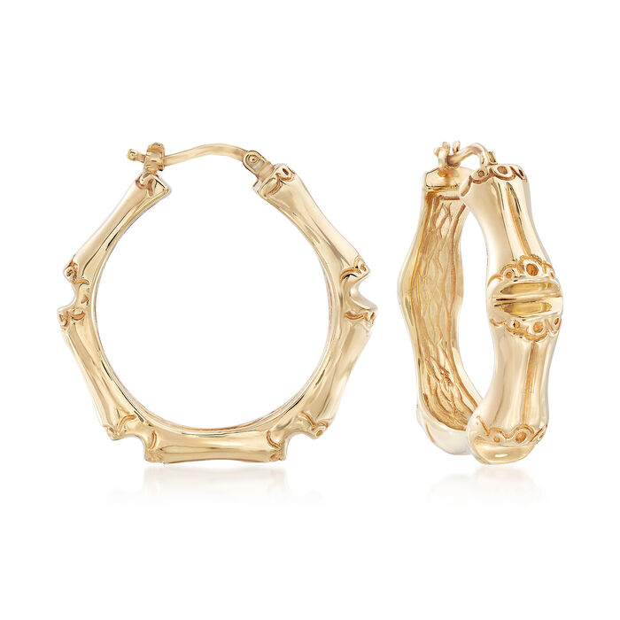 "Italian 14kt Yellow Gold Bamboo-Style Hoops. 1 1/4""., , default"