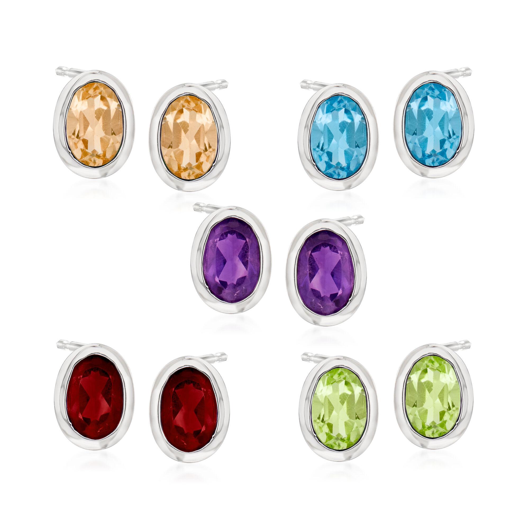 Semi-Precious 5 Pairs Stud Earrings 14kt Yellow Gold Natural Gemstone