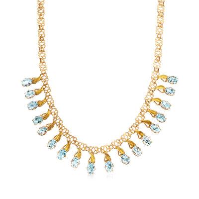 C. 1930 Vintage 13.50 ct. t.w. Aquamarine Drop Necklace in 15kt Yellow Gold, , default