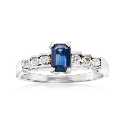 C. 1990 Vintage .50 Carat Sapphire and .25 ct. t.w. Diamond Ring in 14kt White Gold, , default