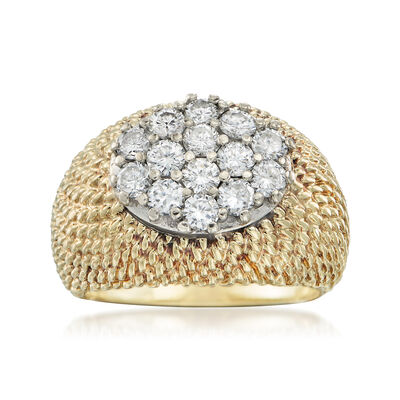 C. 1970 Vintage 1.10 ct. t.w. Diamond Oval Cluster Ring in 14kt Yellow Gold , , default