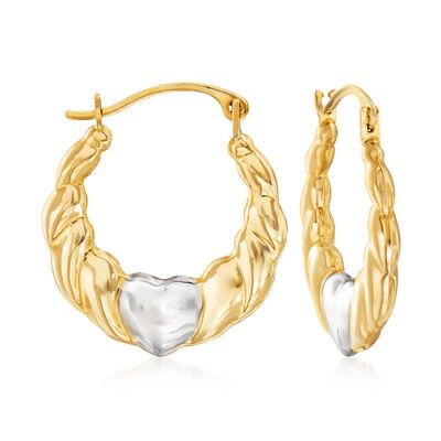 14kt Two-Tone Gold Heart Hoop Earrings