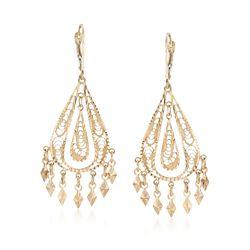 14kt Yellow Gold Teardrop-Shape Filigree Drop Earrings, , default
