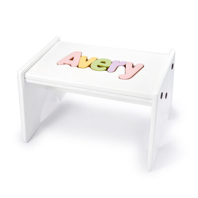 Child's Personalized Name Puzzle Stool - Pastel Colors, , default