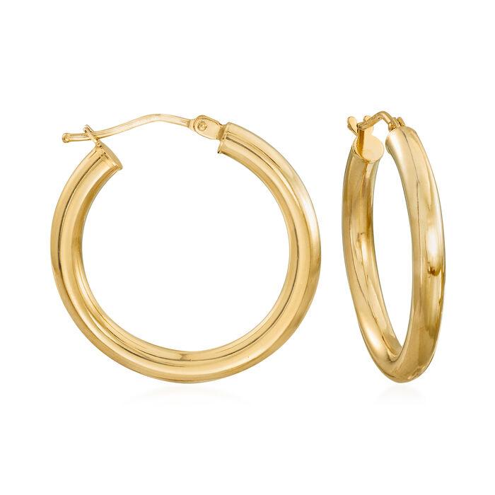 """Italian 18kt Yellow Gold Hoop Earrings. 1"""", , default"""