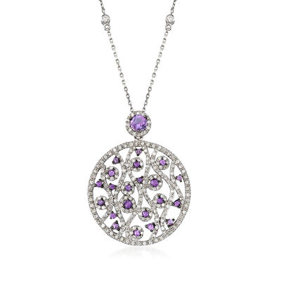 C. 1980 Vintage .80 ct. t.w. Diamond and .55 ct. t.w. Amethyst Swirl Pendant Necklace in 14kt White Gold, , default