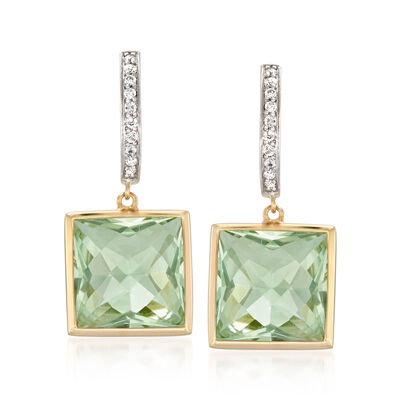 14.00 ct. t.w. Green Prasiolite and .18 ct. t.w. Diamond Drop Earrings in 14kt Yellow Gold, , default