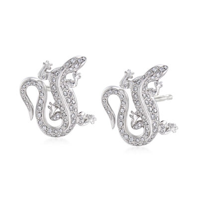 C. 1990 Vintage Tiffany Jewelry .75 ct. t.w. Diamond Lizard Earrings in Platinum
