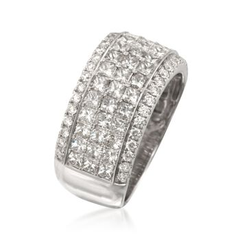 Simon G. 2.94 ct. t.w. Princess-Cut and Round Diamond Band Ring in 18kt White Gold. Size 7, , default