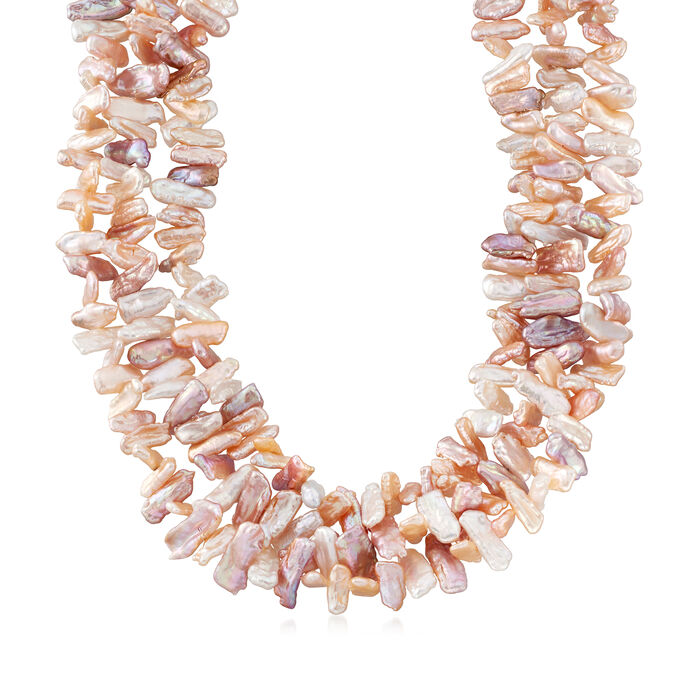 Cultured Pearl and Biwa Pearl Multi-Strand Necklace in 14kt Yellow Gold, , default