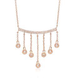 """.28 ct. t.w. Diamond Fringe Necklace in 14kt Rose Gold. 18"""", , default"""