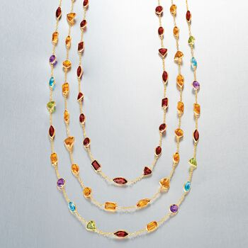 10.80 ct. t.w. Multi-Stone Station Necklace in 14kt Yellow Gold