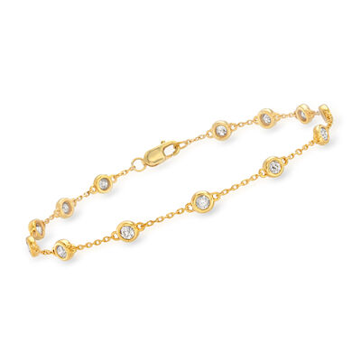 1.00 ct. t.w. Diamond Station Bracelet in 18kt Gold Over Sterling Silver