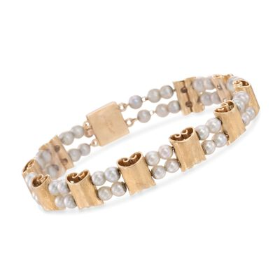 C. 1960 Vintage Lucien Piccard 4mm Cultured Pearl Bracelet in 14kt Yellow Gold, , default