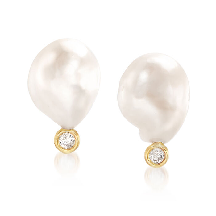 Cultured Baroque Pearl and .10 ct. t.w. Diamond Earrings in 14kt Yellow Gold, , default