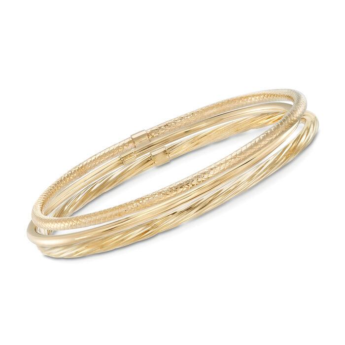 14kt Yellow Gold Jewelry Set: Three Textured Bangle Bracelets, , default
