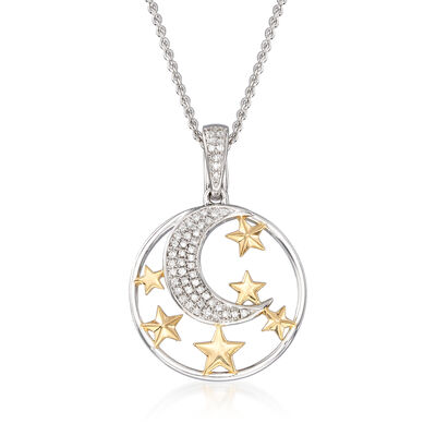 .15 ct. t.w. Diamond Moon and Star Pendant Necklace in Sterling and 18kt Gold Over Sterling, , default