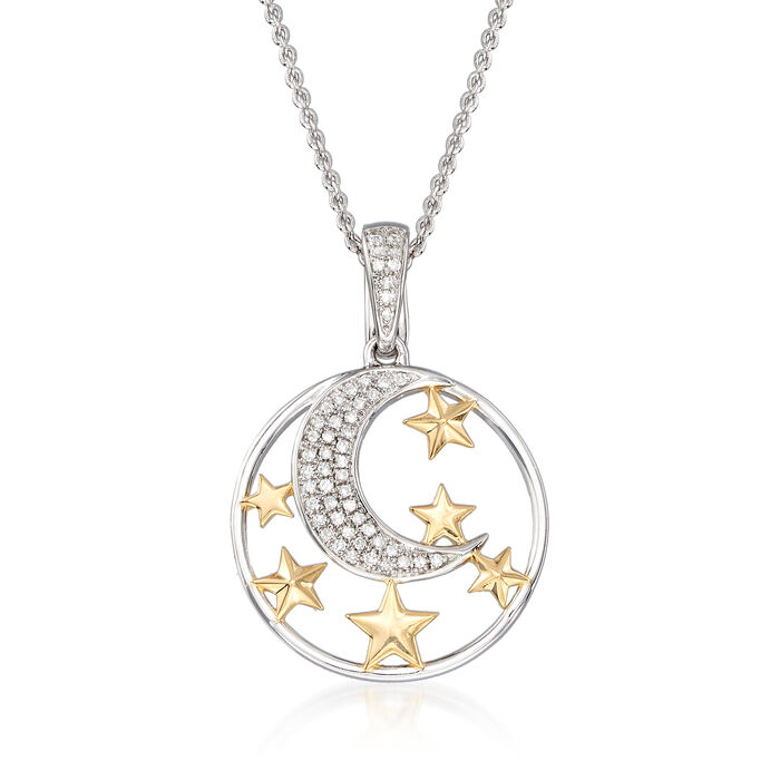 """.15 ct. t.w. Diamond Moon and Star Pendant Necklace in Sterling and 18kt Gold Over Sterling. 18"""""""