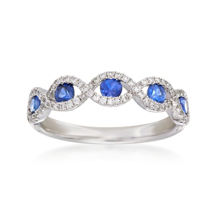 .40 ct. t.w. Sapphire and .22 ct. t.w. Diamond Ring in 14kt White Gold, , default