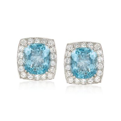 C. 2000 Vintage 17.00 ct. t.w. Aquamarine and 3.60 ct. t.w. Diamond Earrings in 18kt White Gold
