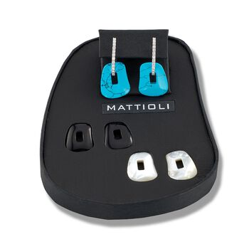 """Mattioli """"Puzzle"""" .34 ct. t.w. Diamond Earrings in 18kt White Gold With Three Interchangeable Drops: Black Onyx, Turquoise and Mother-Of-Pearl. 7/8"""", , default"""