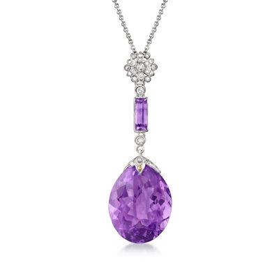 C. 2000 Vintage 17.14 ct. t.w. Amethyst and .30 ct. t.w. Diamond Pendant Necklace in 18kt White Gold